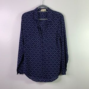CLOTH & STONE Blue Patterned Button Up Shirt M